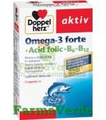 Doppelherz Aktiv Omega 3 Forte + Acid Folic + Vit B6+B12 60 cps