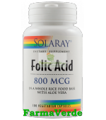 ACID FOLIC 800 mcg 100 capsule vegetale Solaray Secom