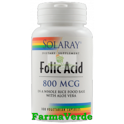 ACID FOLIC 800 mcg 100 capsule vegetale Solaray Secom