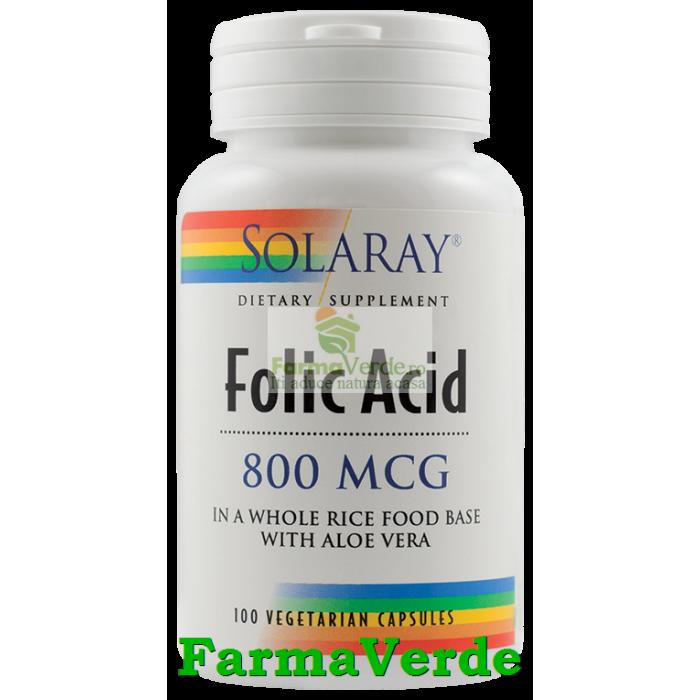 ACID FOLIC 800 mcg 30 capsule vegetale Solaray Secom