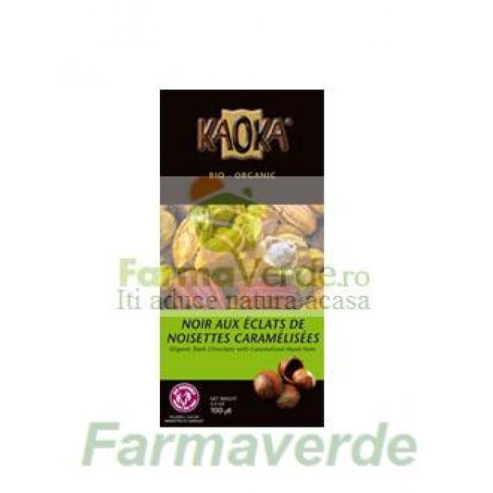 Ciocolata Neagra Kaoka cu Alune Caramelizate BIO 100 gr MDS