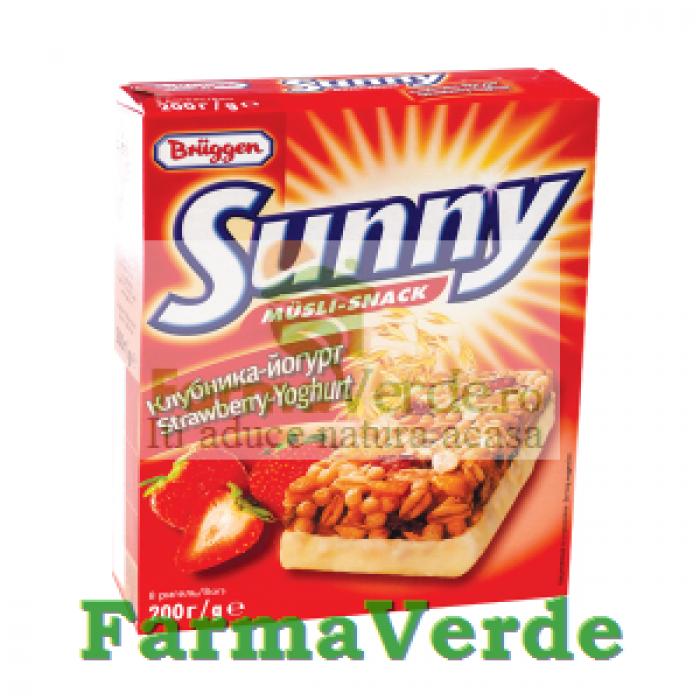Batoane Musli Sunny cu iaurt si capsuni 8 buc 200gr SANO VITA