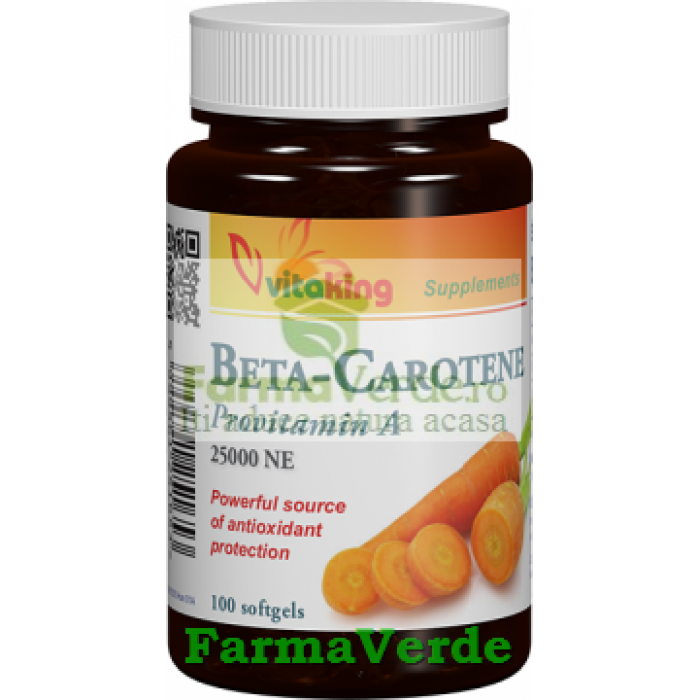 Betacaroten natural 25000 UI 100 capsule gelatinoase Vitaking