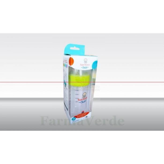 Biberon cu sistem de ventilatie si tetina de silicon 220 ml Sun