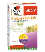 Doppelherz aktiv Calciu 750 + D3 + Biotina + Acid Folic 30 cpr