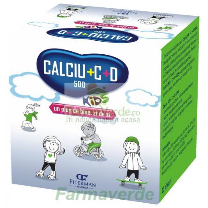 Calciu 500 mg + C + D KIDS 20 plicuri Copii Fiterman Pharma