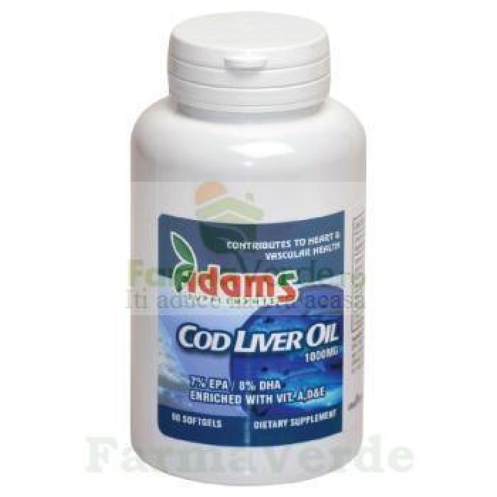 Cod Liver Oil Ulei din ficat de cod 1000mg 90 cps Adams Vision