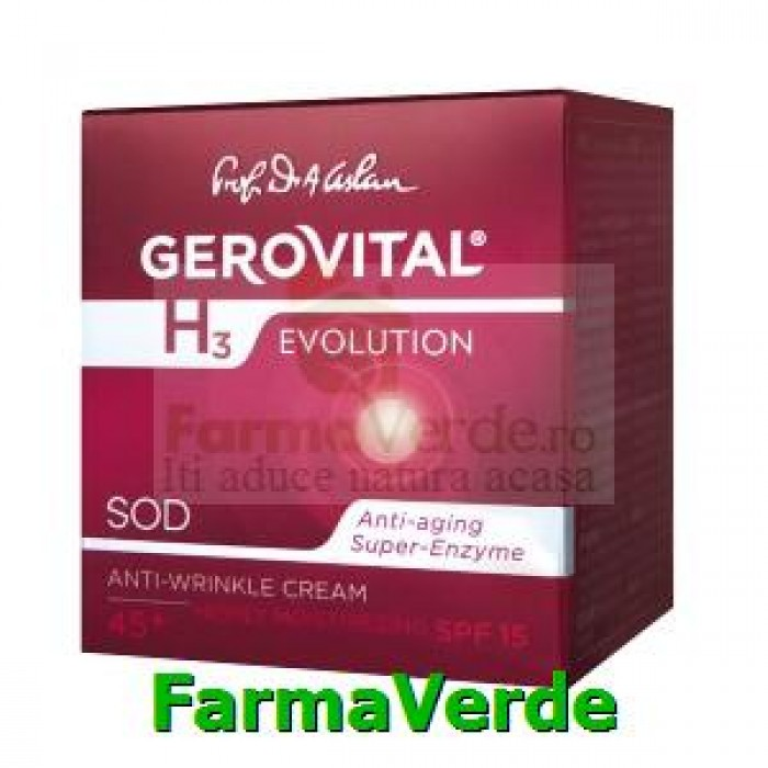 Crema antirid intens hidratanta cu FP15 Gerovital H3 Evolution