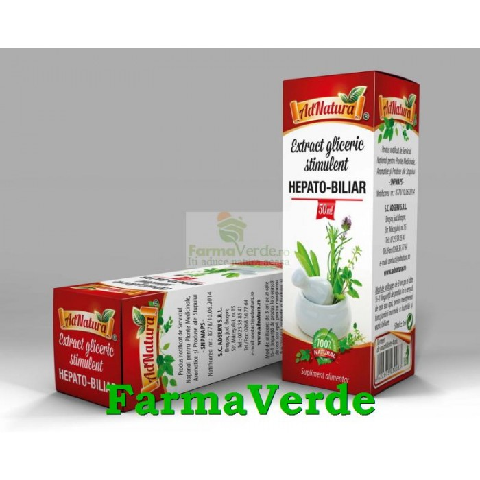 Extract gliceric stimulent HEPATO-BILIAR 50 ml Adnatura Adserv