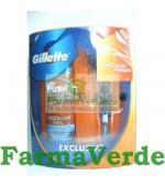 Pachet Gillette Fusion cu 1 rezerva + Gel de ras 75 ml GRATUIT!