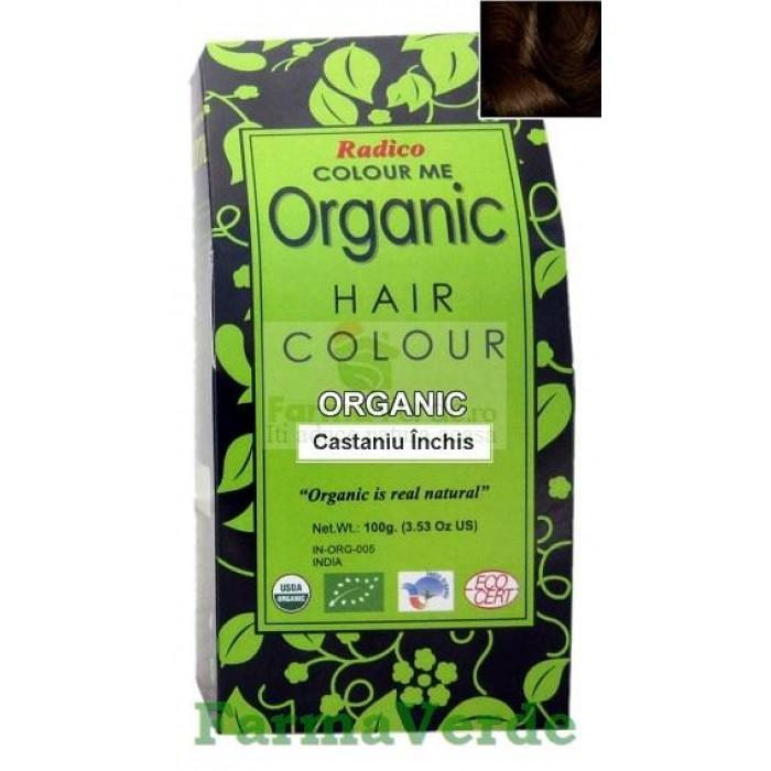 Henna Organic Vopsea de Par din Plante CASTANIU INCHIS 100 gr