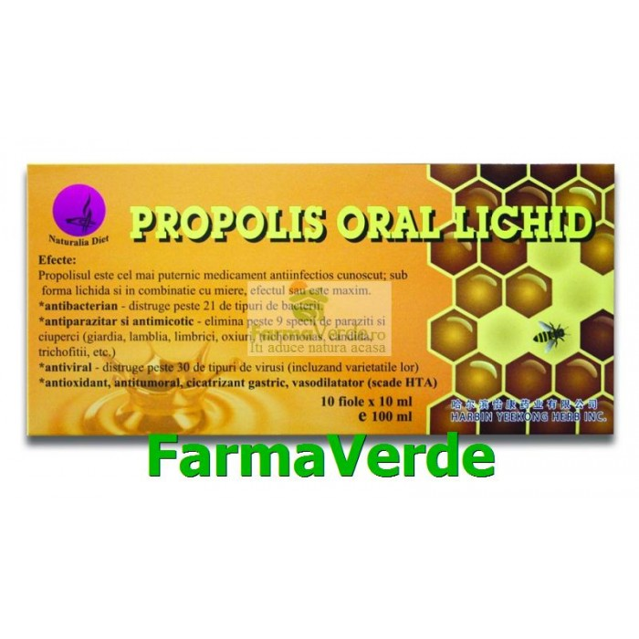 NOU! Propolis Oral Lichid 10 fiole 10ml Naturalia Diet