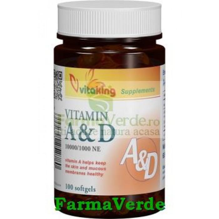 Vitamina A si D (10.000/ 1.000 UI) 60 cps gelatinoase Vitaking