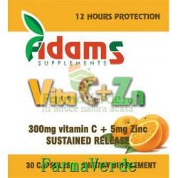 Vita C+Zn cu eliberare prelungita 30 capsule Adams Vision