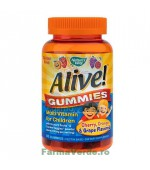 Alive! Gummies Multi-Vitamin for Children 90 de jeluri cu gust de portocale,cirese,struguri Secom