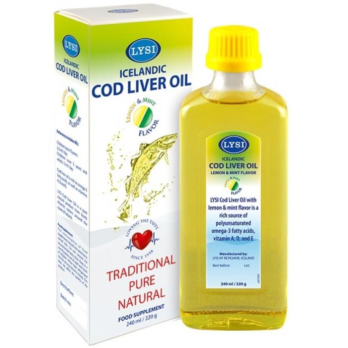 Ulei din Ficat de Cod cu Aroma de Lamaie 240 ml Lysi Saga
