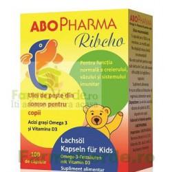 ABO RIBCHO Ulei de Pește din somon+Vitamina D3 pentru copii 100 capsule Abo Pharma