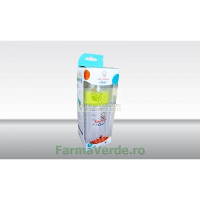 Biberon cu sistem de ventilatie si tetina de silicon 8oz/240ml Sun Wave Pharma