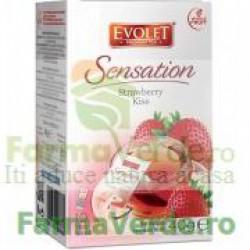 Evolet Ceai Strawberry Kiss Capsuni 40g (10 plicuri x 4g) Vedda