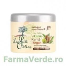 Masca nutritiva pentru par uscat si deteriorat cu unt de karite, uleiuri de argan si masline FPO51 Le Petit Olivier