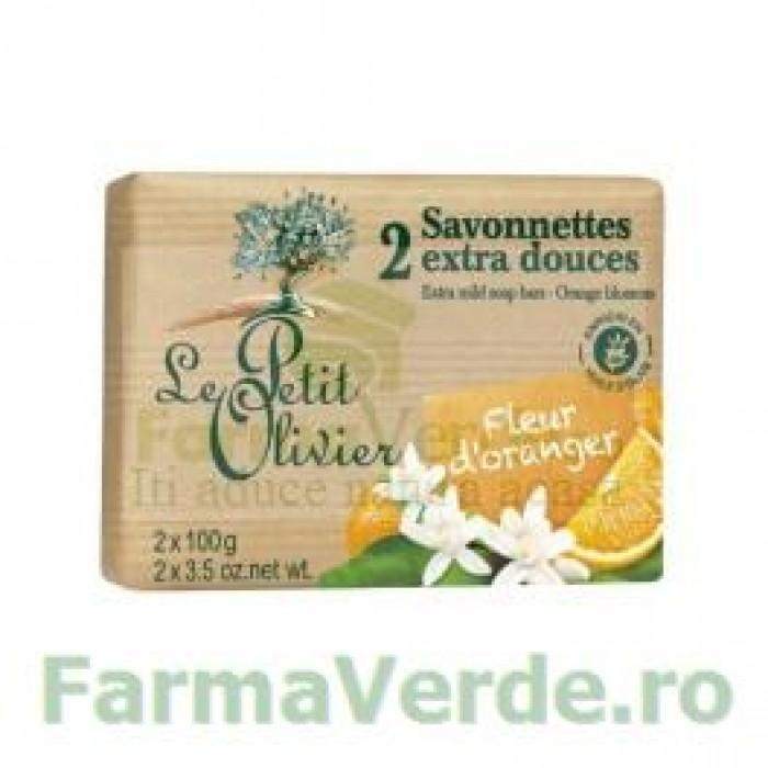 Sapun vegetal cu extract de flori de portocal 2 bucati FPO6 Le Petit Olivier Cosmetica Verde
