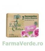 Sapun vegetal cu extract de trandafir 2 bucati FPO7 Le Petit Olivier Cosmetica Verde