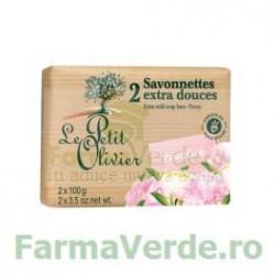 Sapun vegetal cu extract de bujor 2 bucati FPO8 Le Petit Olivier Cosmetica Verde