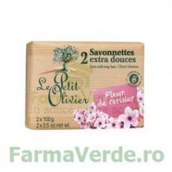 Sapun vegetal cu extract de flori de cires 2 bucati FPO9 Le Petit Olivier Cosmetica Verde