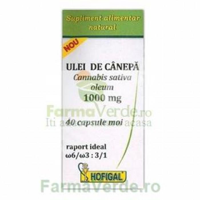 Ulei de canepa 1000 mg 40 capsule moi Hofigal