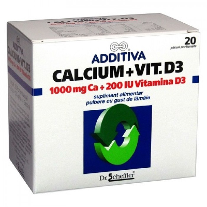 ADDITIVA Calciu + Vitamina D3 20 plicuri Dr. Scheffler