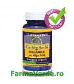 Ca+Mg+Se+Si ORGANICE cu Alga AFA 30 capsule Herbagetica
