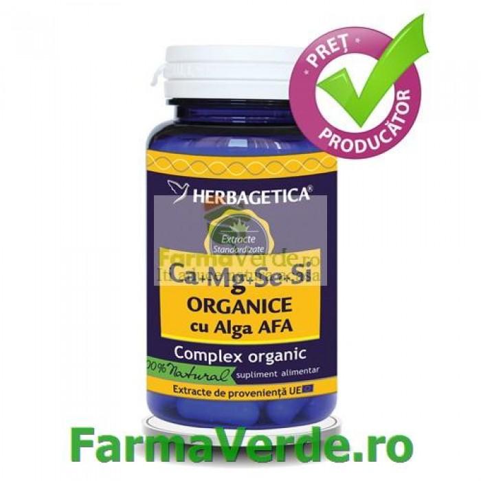 Ca+Mg+Se+Si ORGANICE cu D3 30 capsule Herbagetica