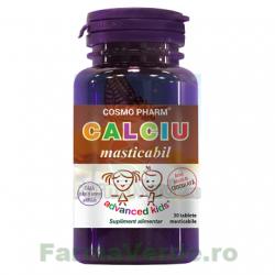 CALCIU MASTICABIL 30 tablete masticabile ciocolata Cosmopharm