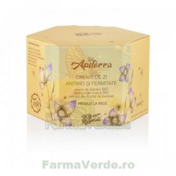 Crema de zi antirid si fermitate,cu miere de salcam si laptisor de matca, 50 ml Apiterra