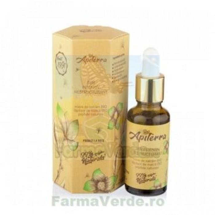 Ser intensiv restructurant  cu miere de salcam, peptide naturale, laptisor de matca, 30 ml Apiterra