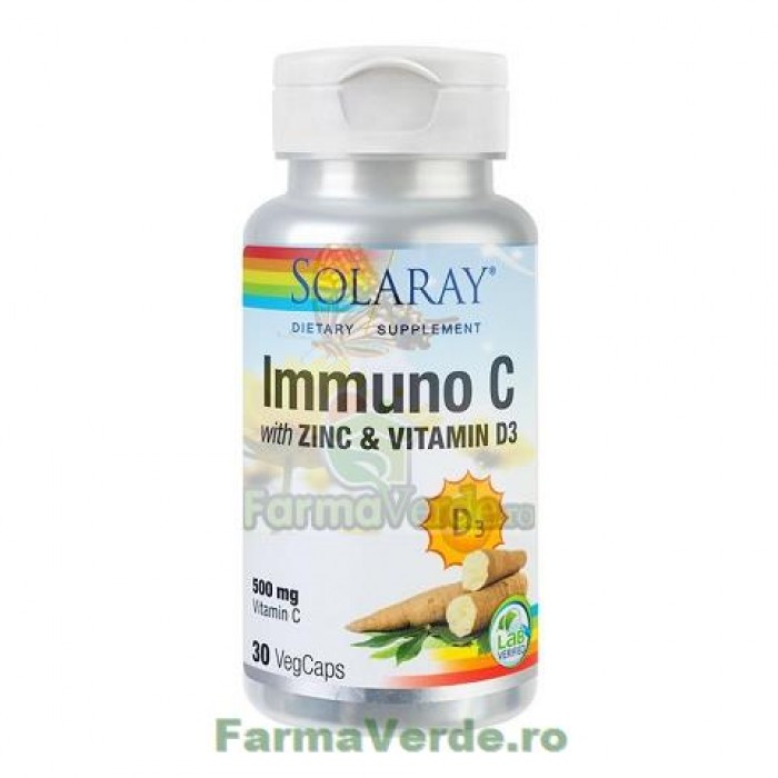 Zinc si Vitamina D3 Immuno C Solaray, 30 capsule, Secom