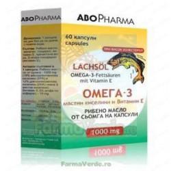 Omega 3 1000 mg + Vitamina E 60 capsule cu ulei de somon Abo Pharma