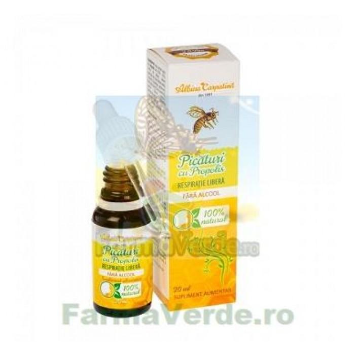 Picaturi cu propolis fara alcool respiratie libera 20 ml Albina Carpatina Apicola