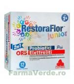 RestoraFlor Junior 12 plicuri cu saruri de rehidratare gust de zmeura Secom