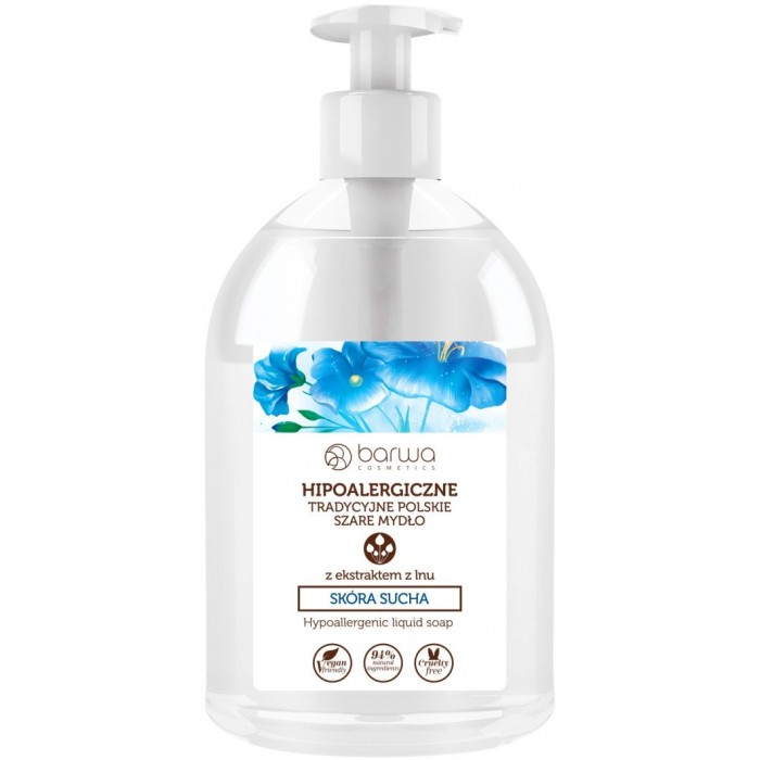 Sapun lichid Vegan pentru pielea uscata cu extracte de in 500ml Barwa Cosmetics Polonia
