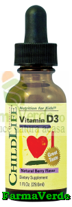 Vitamina D3 Copii Picaturi 29,6 ml 500 UI ChildLife Secom