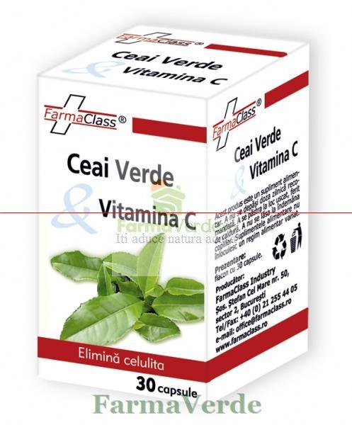Ceai Verde + Vitamina C 30 cps Farma Class
