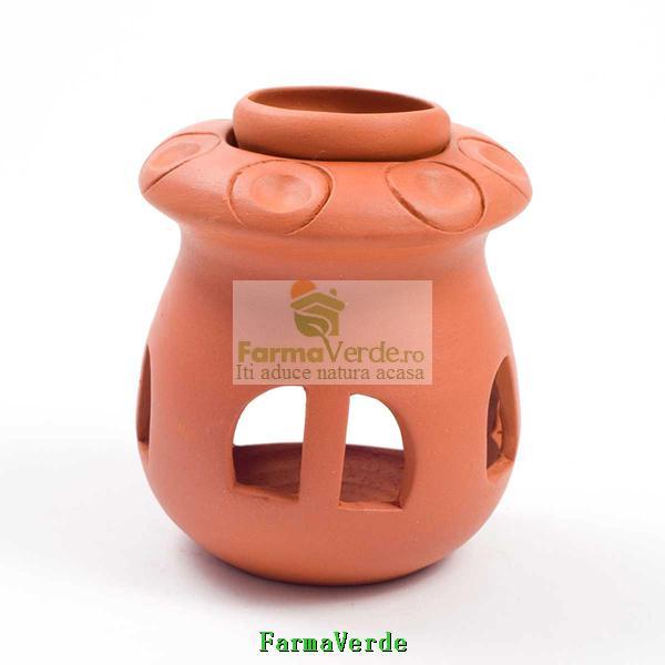Lampa Candela Ciuperca Maro Ceramica Vitos