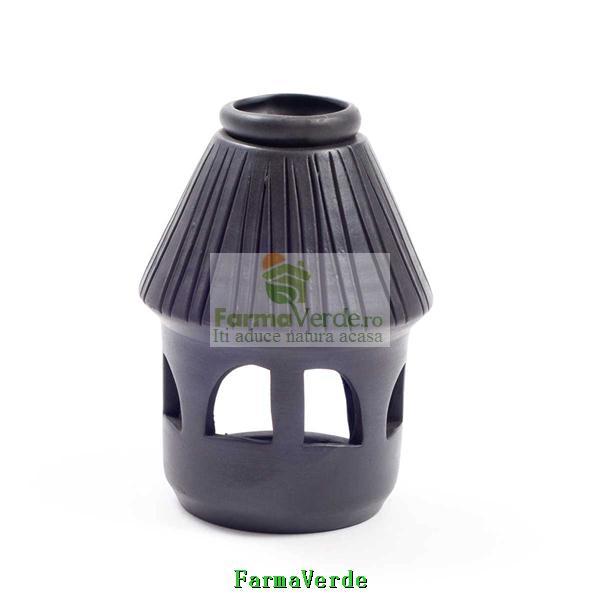 Lampa Candela Casuta Neagra Ceramica Vitos