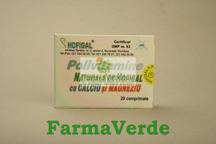 Polivitamine Naturale de Calciu si Magneziu 20 Cpr Hofigal